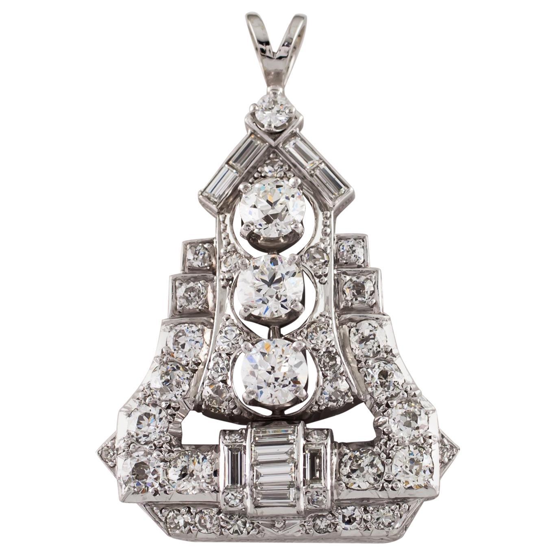 4.00 Carat Diamond Colorless / VS Clarity Pagoda Platinum Drop Pendant