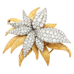 11 Carat White Diamonds Flower French Brooch or Pin