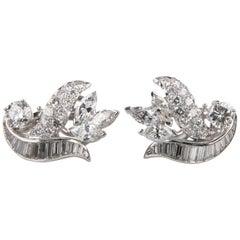 9.00 Carat 14 Karat White Gold Diamond Clip-On Floral Earrings