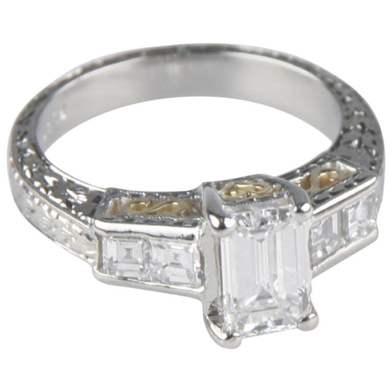 1.65 Carat Emerald-Cut Diamond Platinum Engagement Ring GIA Certified