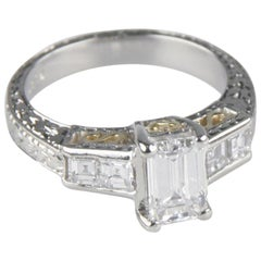 1.65 Carat Emerald-Cut Diamond Platinum Engagement Ring GIA Certified