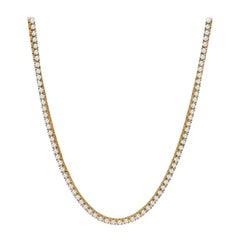 23.97 Carat Total Weight Round Brilliant Diamond Necklace with 14 Karat Gold