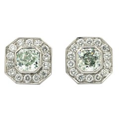 GIA Certified 2.00 Carat Natural Green Diamond Earrings