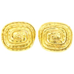 David Webb Earrings Square 18 Karat Yellow Gold
