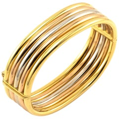 Wide Bangle White Rose Yellow Gold 18 Karat Three-Tone