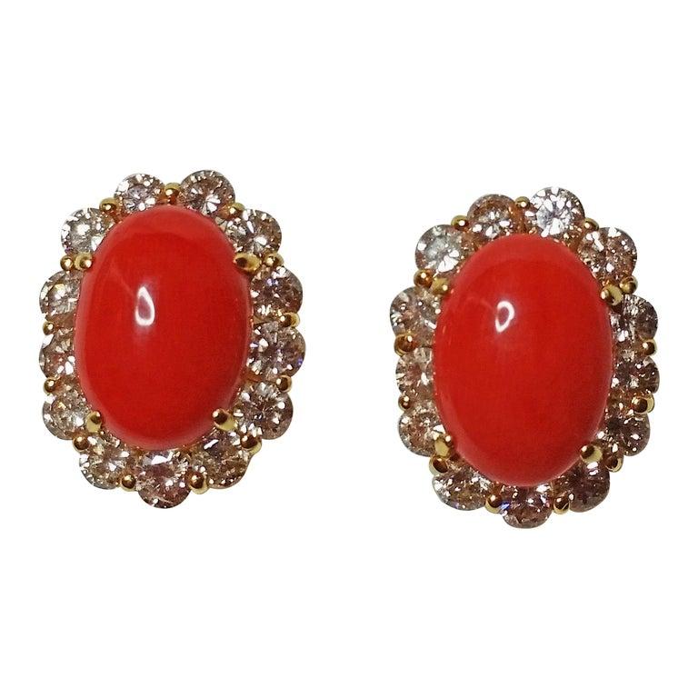 Cluster Earrings 14 Carat Gold 585 Diamonds 4.0 Carat Corals Vienna Austria For Sale