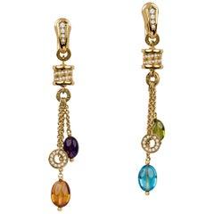 Bulgari B. Zero1 Gemstone and Diamond Dangle Earrings Set in 18 Karat Gold
