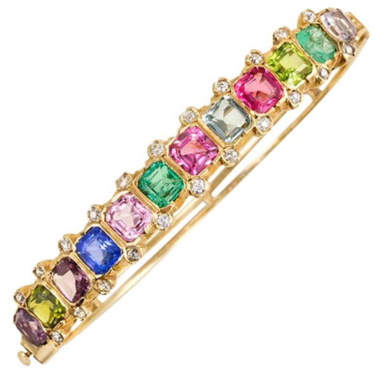 Antique Gold And Multi Gemstone Half Hoop Bangle Bracelet