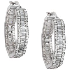 Hexagon Shape Diamond Hoop Earrings 18 Carat White Gold Round Baguette Diamonds