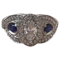 2.0 Carat Approximate, Marquise Halo Diamond and Sapphire Ring, Ben Dannie