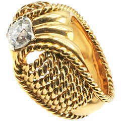 Retro Old European Cut Diamond 18 Karat Gold Ring