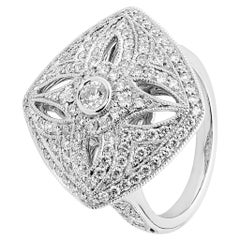 1.25 Carat Diamond 18 Carat White Gold Art Deco Cocktail Ring