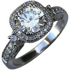 1.5 Carat Approximate, Round Halo Diamond Engagement Custom Ring, Ben Dannie