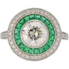 Vintage Inspired Emerald and Diamond Ring