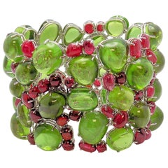 Handmade Peridot and Red Spinel Bracelet