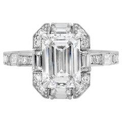Platinum 2.46 Carat Emerald Cut Diamond Art Deco Engagement Ring
