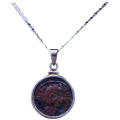 Authentic Roman Coin Silver Necklace