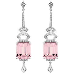 15.09 Carat Emerald Cut Morganite and Diamond Art Deco Earrings