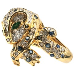 1980s Diamond Emerald Sapphire 18 Karat Yellow Gold Jaguar Ring