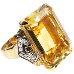35 Carat Citrine Diamond Gold Ring