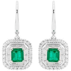 18 Carat White Gold 1.3 Carat Emerald and 1.314 Carat Diamond Art Deco Earrings