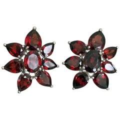 15.00 Carat Garnet Cluster Earrings 14K White Gold