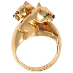 Cartier Double Headed Panther Gemstone Gold Ring