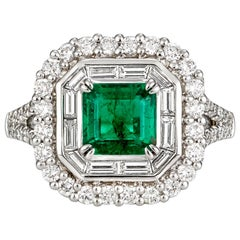2.40 Carat Emerald and 0.746 Carat Diamond Cocktail Ring
