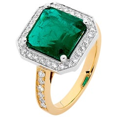 4.23 Carat Emerald and Diamond 18 Carat White and Yellow Gold Ring