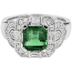 1.70 Carat Emerald and 18 Carat White Gold Diamond Art Deco Ring