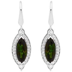 18 Carat White Gold Green Tourmaline Earrings in Art Deco Style