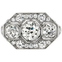 Art Deco Inspired Three-Stone Ring