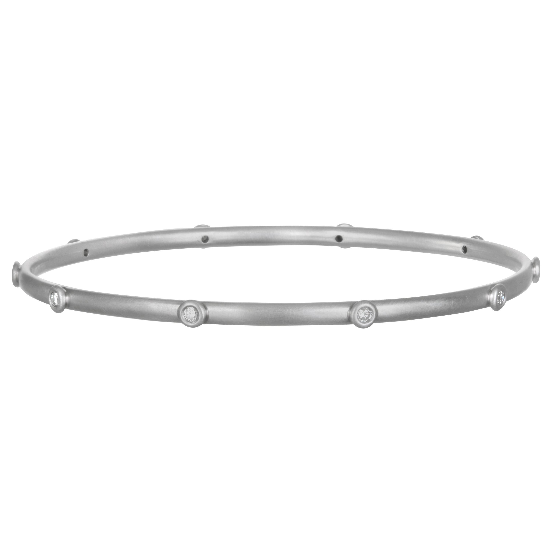 Faye Kim Platinum Diamond Bangle Bracelet