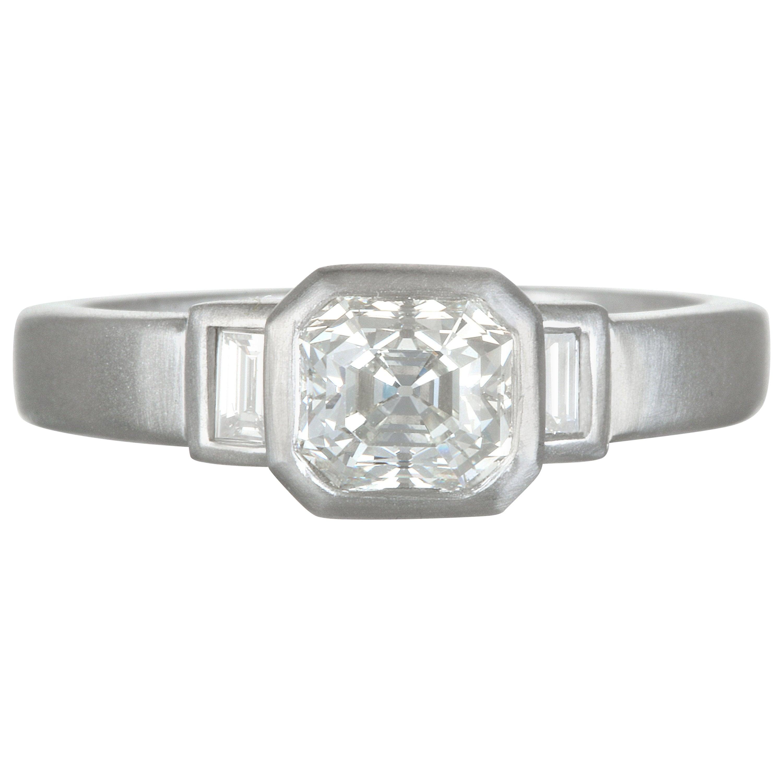 Faye Kim Platinum Radiant Cut Diamond Engagement Ring