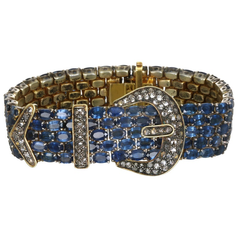 Vintage 14 Karat and Sterling Silver Diamond Sapphire Mesh Bracelet For Sale