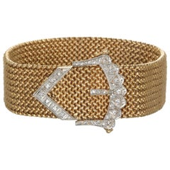 Vintage 18 Karat Gold Mesh Bracelet with Diamond Buckle