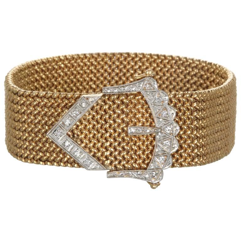 Vintage 18 Karat Gold Mesh Bracelet with Diamond Buckle For Sale