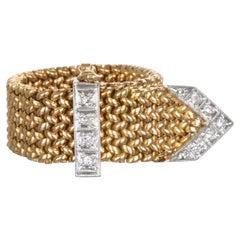 Vintage 18 Karat Maschen-Ring mit Diamant-Schnalle