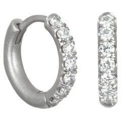 Faye Kim Platinum Micro Pave Huggy Hoop Earrings
