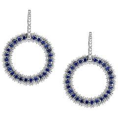 Sapphire and Diamond Hanging Dangle Hoop Earrings 18k White Gold