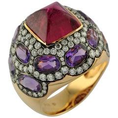 4.78 Carat Rubelite, 4.70 Carat Amethyst, 2.00 Carat Diamond 18 Karat Ring