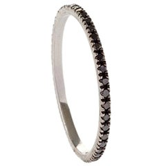 18 Karat White Gold Black Diamond Pave Italian Made Stacking Ring