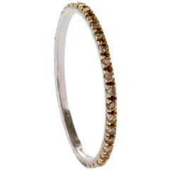 18 Karat White Gold Champagne Diamond Pave Italian Made Stacking Ring