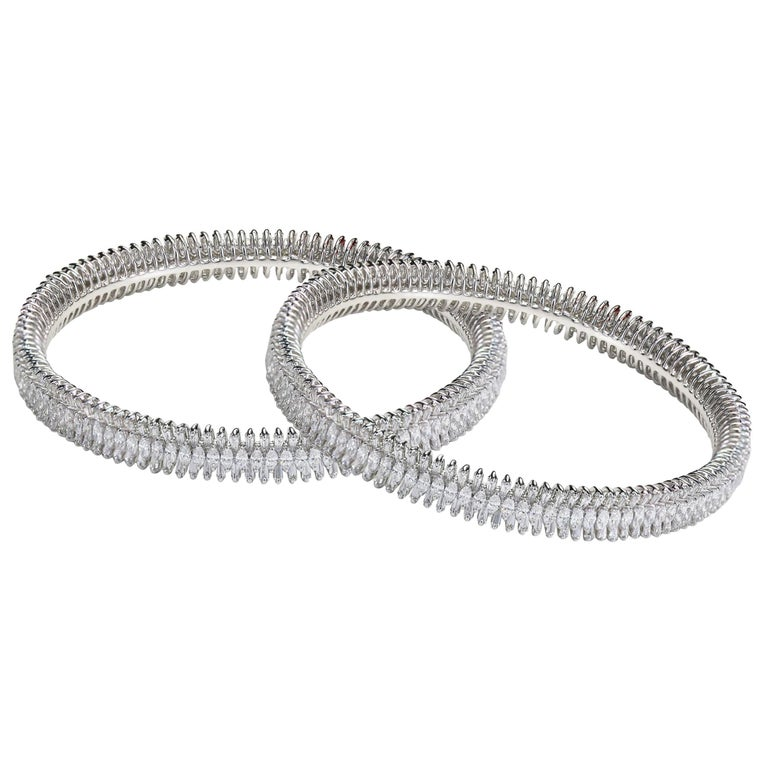 Studio Rêves 18 Karat White Gold, Baguette and Marquise Diamonds Bangles For Sale