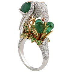 Studio Rêves Crane Ring in 18K Gold and Diamonds with Emeralds and Tsavorites