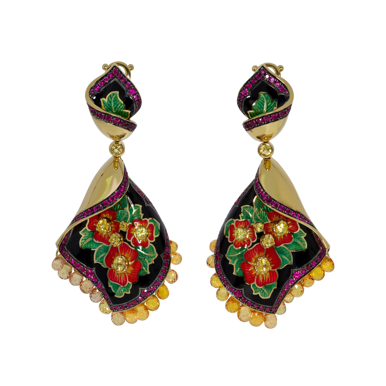 Sapphire Ruby Enamel A'la Russe Earrings