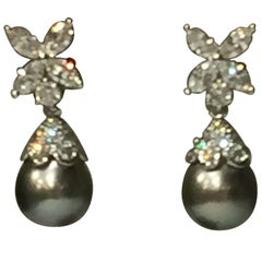 "Tiffany & Co. ""Victoria"" Diamond and Tahitian Pearl Platinum Earrings"