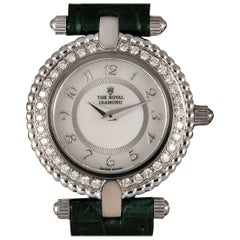The Royal Diamond Ladies White Gold White Mother of Pearl Dial Quartz Watch