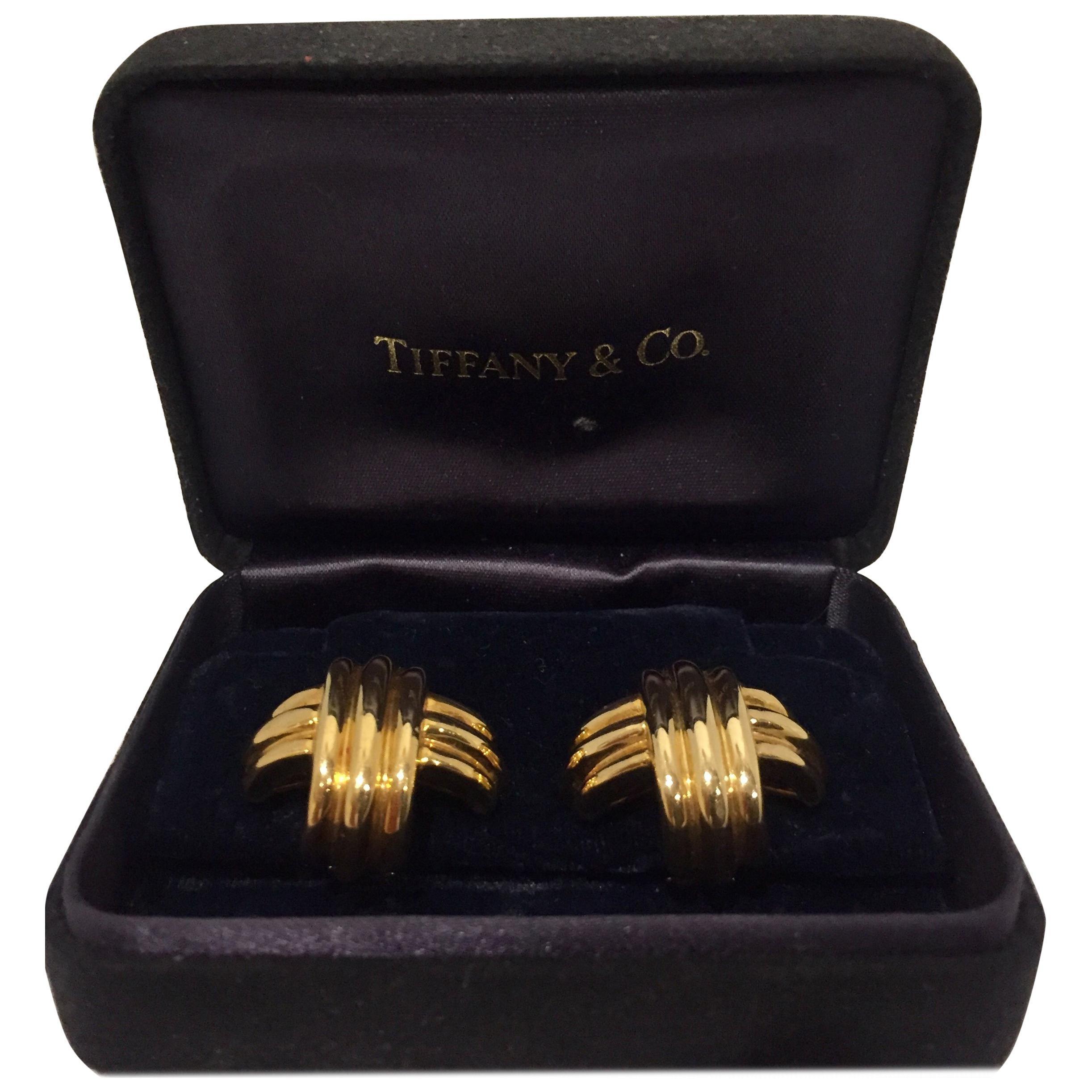 Tiffany & Co. 18 Karat Yellow Gold Cross Earrings