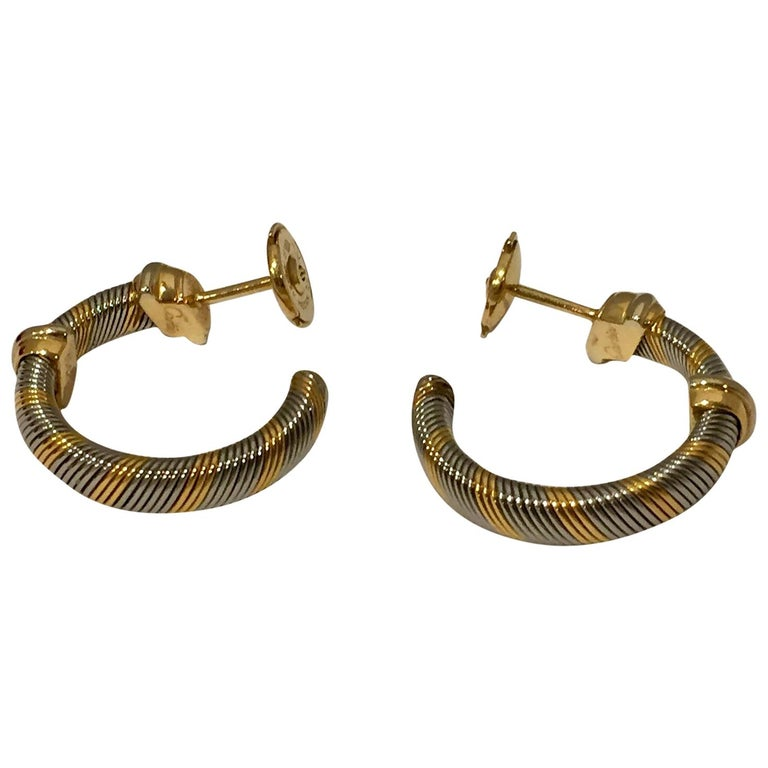 Cartier 1980s 18 Karat Yellow Gold and Stainless Steel Hoop Earrings For Sale